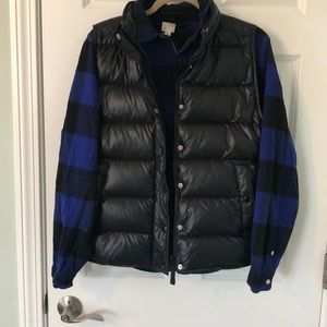 J CREW black shiny puffer vest